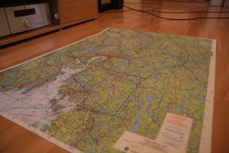 Flykart over Oslo-området i 1:250.000-målestokk