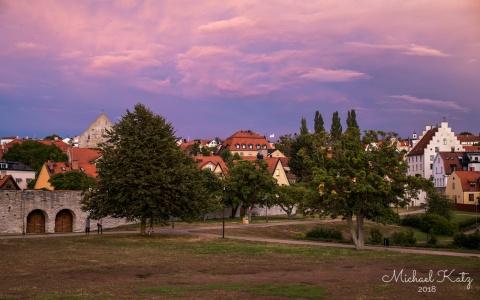 Vakker solnedgang i Visby.