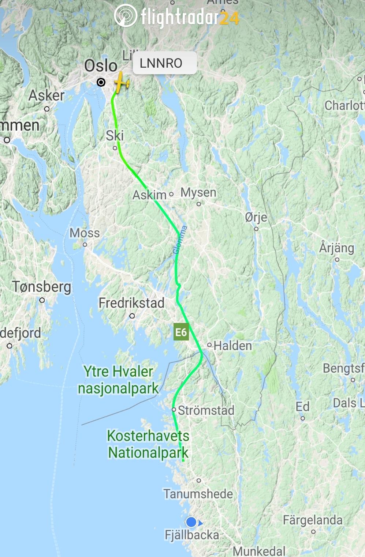 Flyturen nedover til Fjällbacka registrert av Flightradar24.